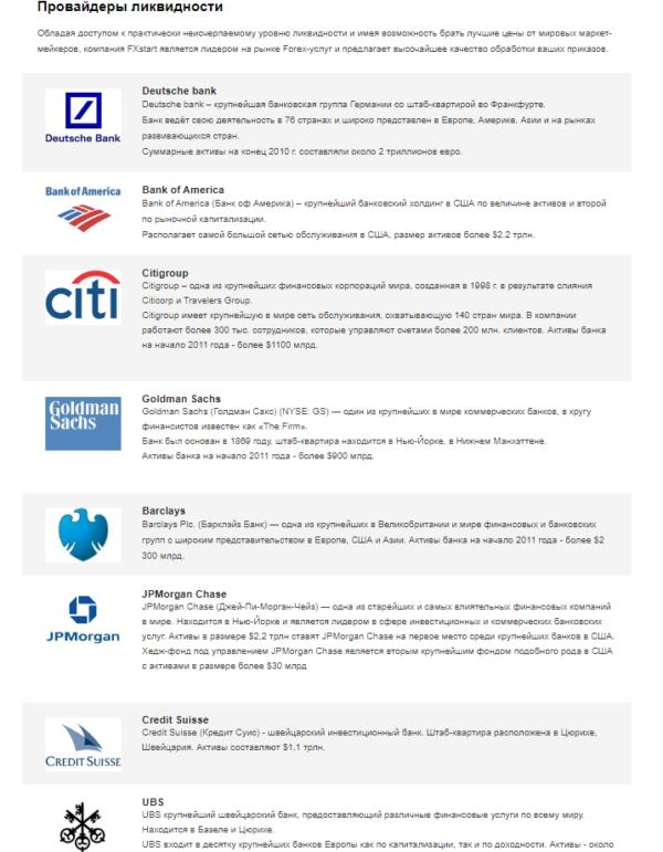 fxstart провайдеры ликвидности